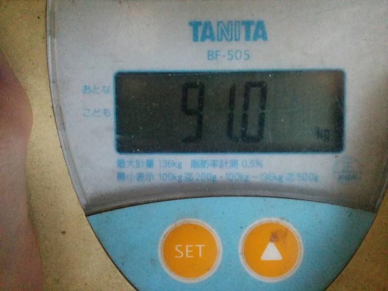 ダイエット18日目の旦那の体重