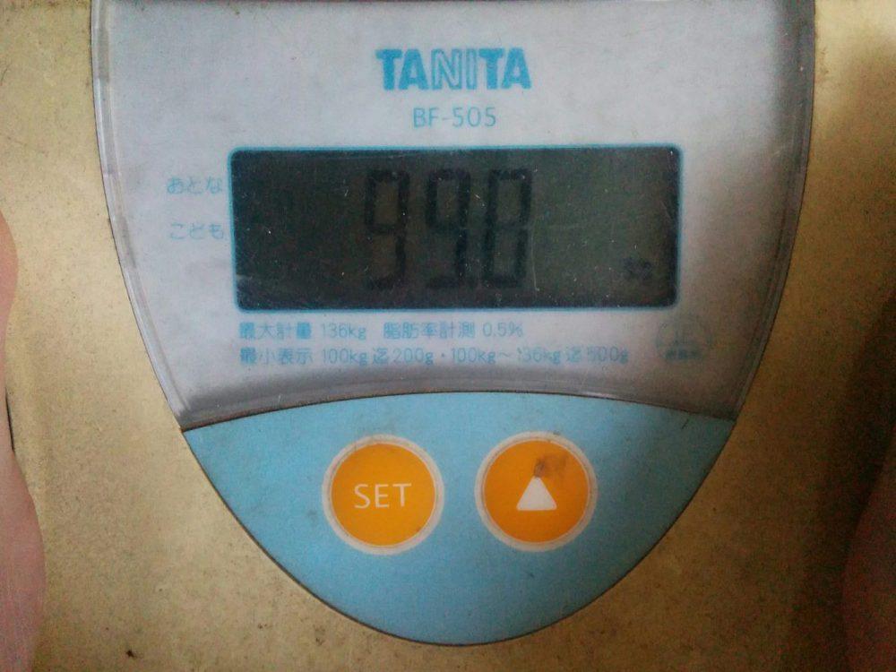 ダイエット16日目の旦那の体重