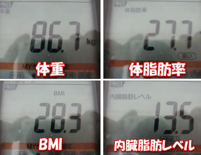 シボヘール6日目の旦那の体重・体脂肪率・BMI・内臓脂肪レベル