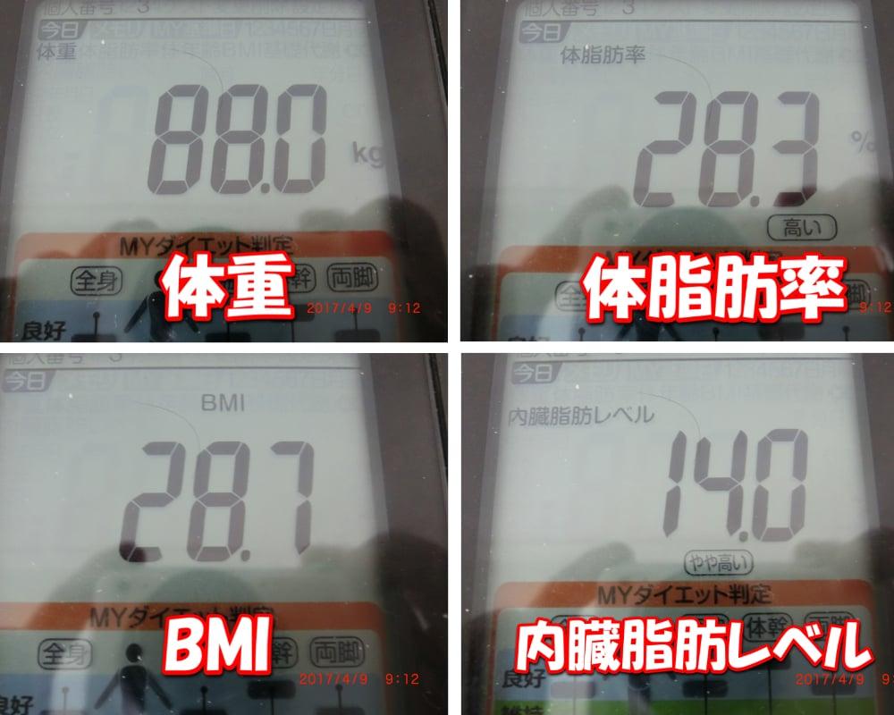 シボヘールを飲む前日の旦那の体重・体脂肪率・BMI・内臓脂肪レベル