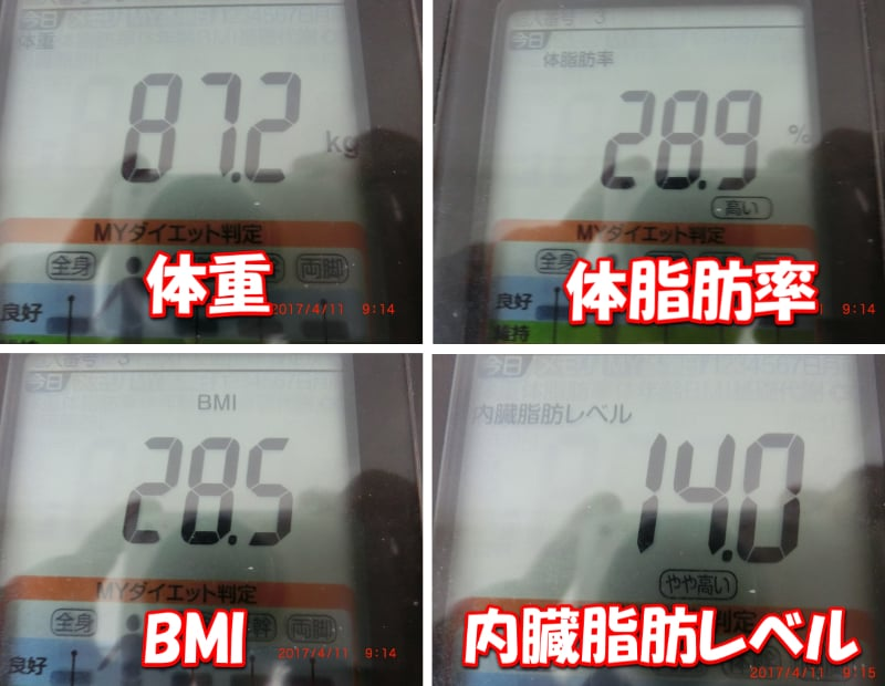 シボヘール2日目の旦那の体重・体脂肪率・BMI・内臓脂肪レベル