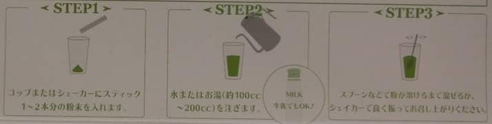 パッケージ裏面に書かれている飲み方